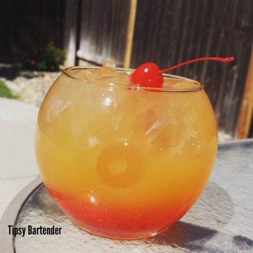 TROPICAL HANGOVER 2 oz (60 ml) Bacardi Pineapple Fusion Rum 1 ½ oz (45 ml) Watermelon Vodka 1 ½ oz (45 ml) Peach Schnapps 1 ½ oz (45 ml) Triple Sec 3 oz (90 ml) Mango Nectar 2 oz (60 ml) 7-Up ½ oz (15 ml) Cherry Juice Fill base of glass with Cherries, then add Ice Garnish with Lime Slices, Lemon Slices, Cherries, or Pineapple Slices Top with Cherry Juice