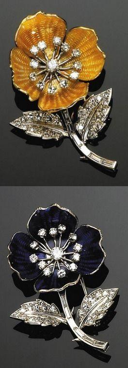 Boucheron PAIR OF PLATINUM, GOLD, ENAMEL AND DIAMOND FLOWER BROOCHES, BOUCHERON, PARIS