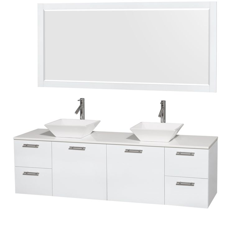 Wyndham Collection Amare 72 Inch Double Vanity In Glossy White, White Stone  Countertop, 70 Inch Mirror (Glossy White,WHT Stone Top,Pyra