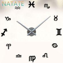 Natate гостиной DIY кварцевые большой украшения дома большие настенные часы современный дизайн наклейки эффект наклейка настенные часы 0940(China (Mainland))