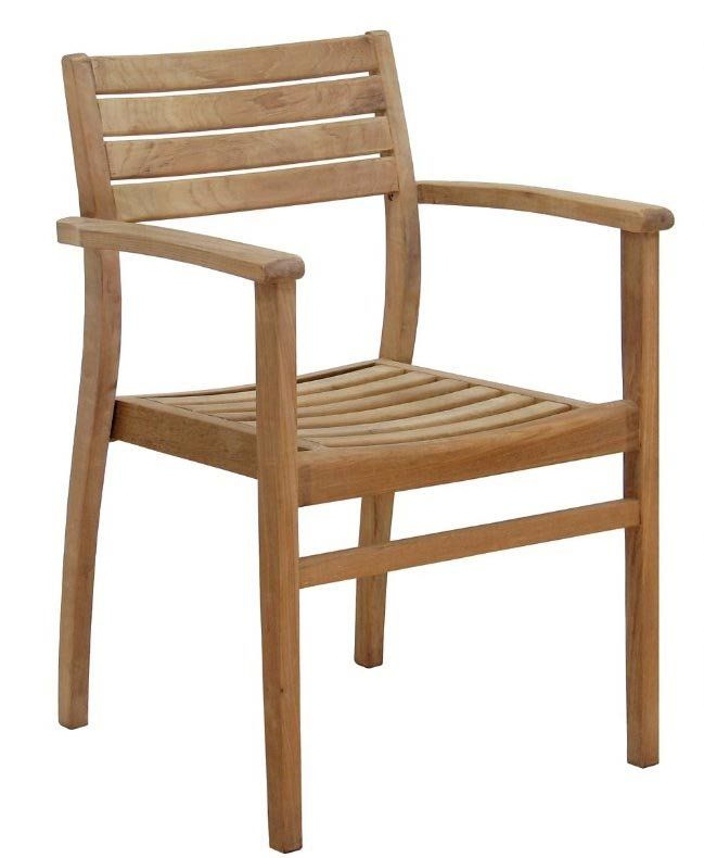 Canberra Stacking Teak Patio Dining Chair Scaune