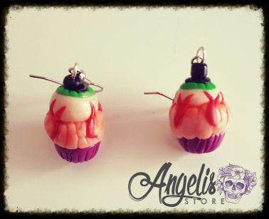 Handmade Polymer Clay Zombie Cupcake Earrings