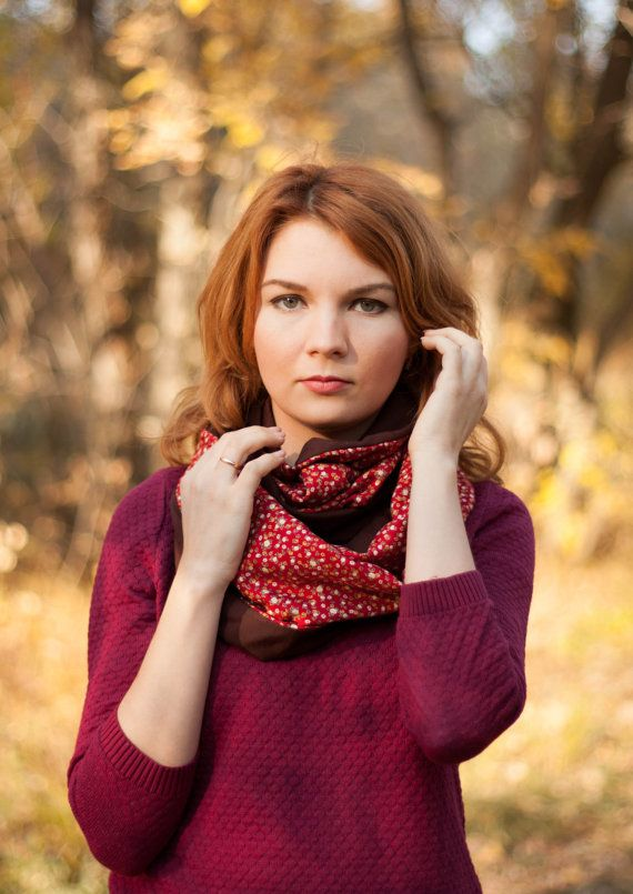 Infinity red and chocolate scarf-snood fon Barkhat-shop on Etsy