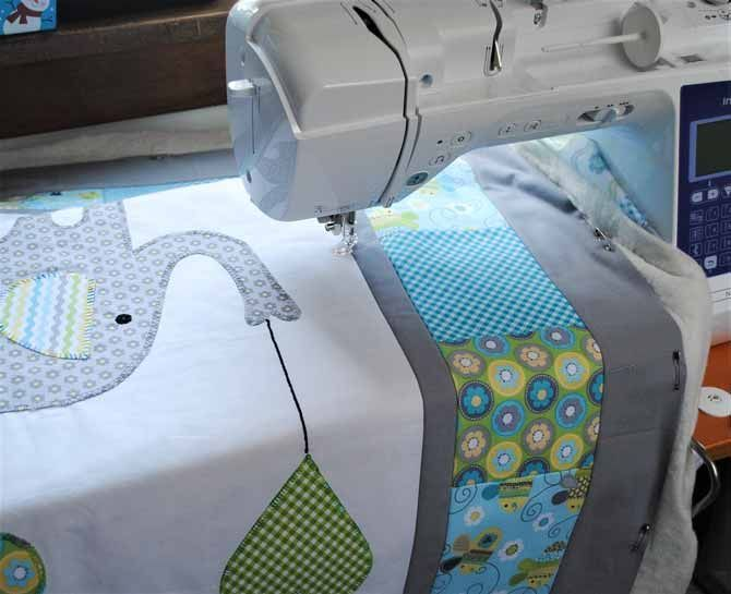 Jumpstart Your Free Motion Quilting On This Elephant Baby Quilt Free Motion Quilting Baby Quilts Quilts