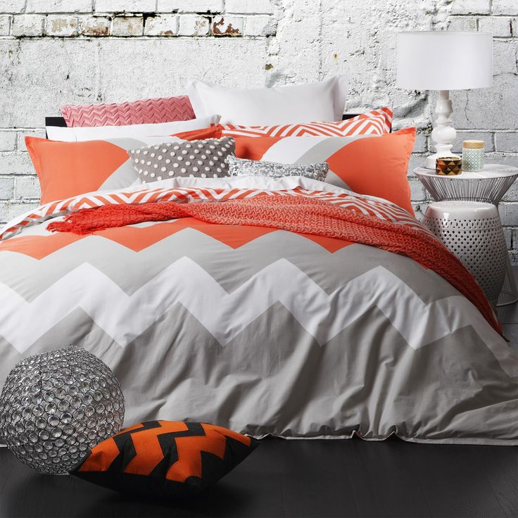 Logan and Mason Marley Tangerine Duvet Cover Set - view full collection - duvet covers - queenb