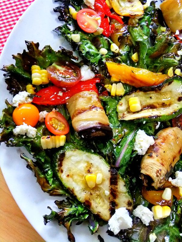 Chargrilled Kale Salad with Heirloom Cherry Tomatoes, Goat Feta, Fresh Corn, and Grilled Zucchini Planks