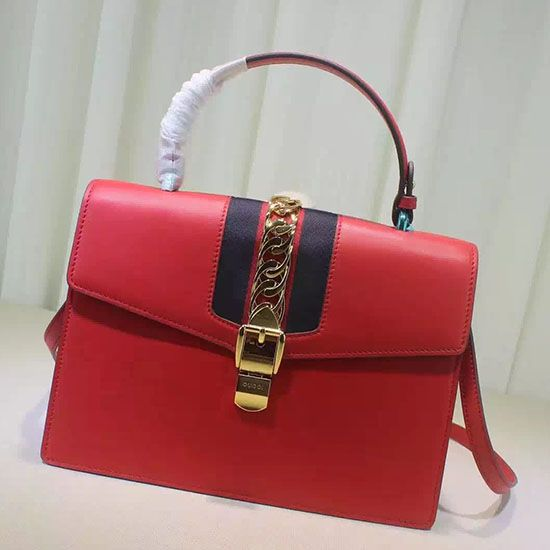 d14279ee9cfd Sylvie Leather Top Handle Bag Red 431665   Gucci Top Handle Bags ...