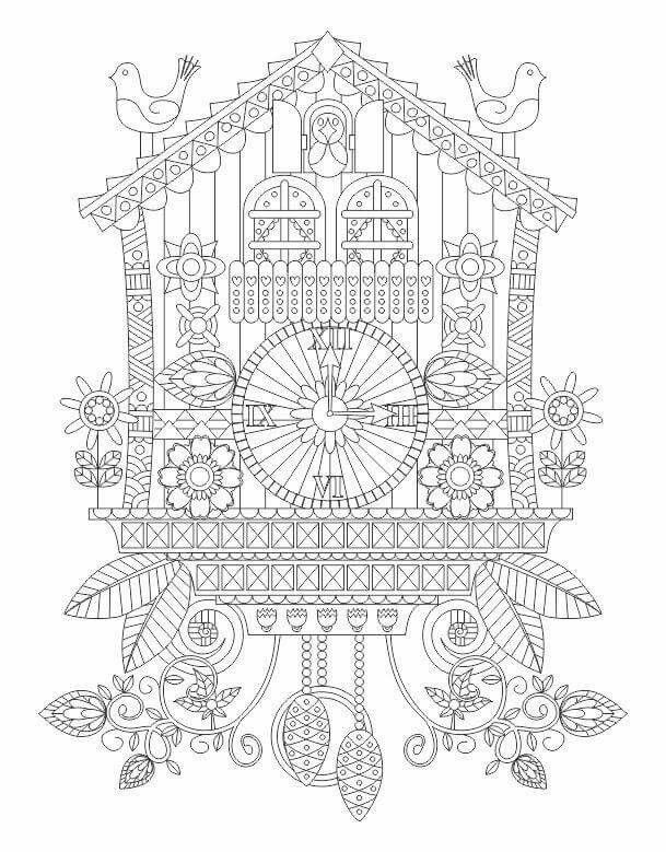 Advanced Coloring Cuckoo Clock Page