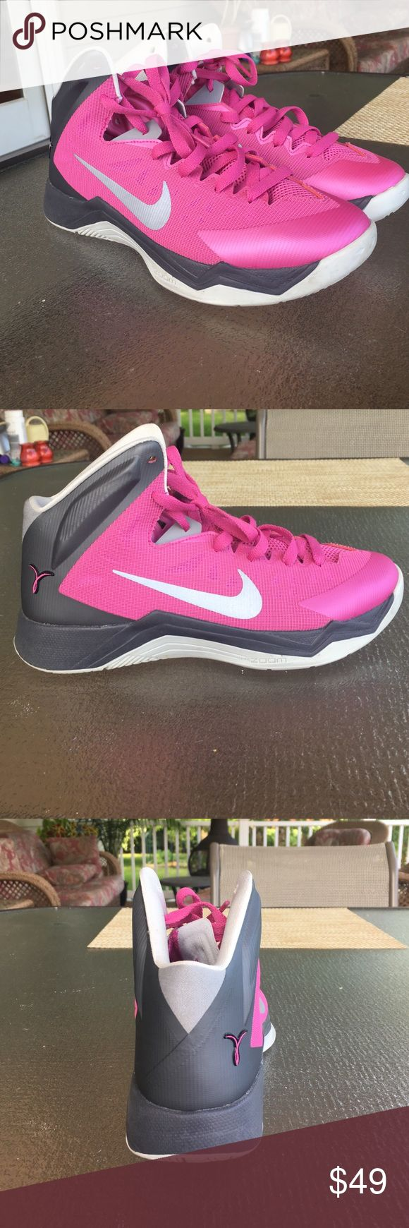 Nike Basketball Sneakers Women's Hot pink, grey and silver high top basketball sneakers, barely used! Nike Shoes Athletic Shoes