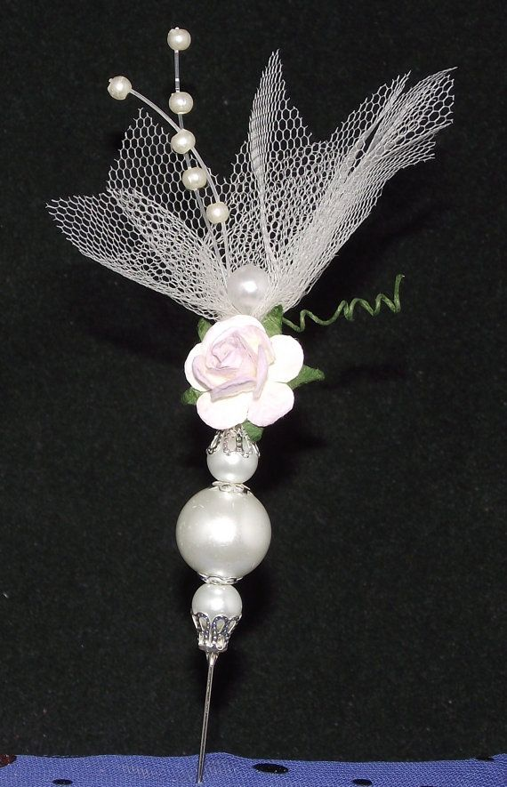 Unique Rose and Tulle topped stick pin for paper crafts card making and scrapbooking.