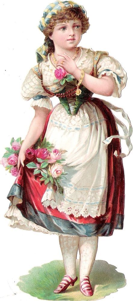 Oblaten Glanzbild scrap die cut chromo Lady Dame  XL 18,5 cm femme Tracht