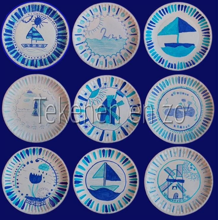 Door Pernille, groep 7 Benodigdheden:  witte papieren bordjes zonder plastic laagje viltstiften in diverse kleuren blauw voorbeelden van Del...