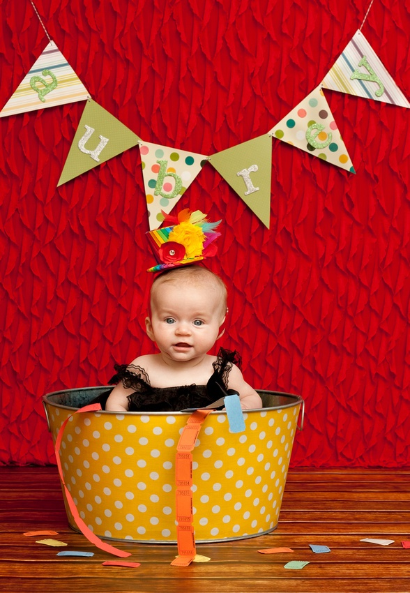 Six month old circus themed photo shoot.