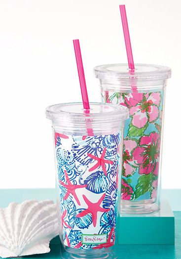 Lilly Pulitzer Tumbler With Straw - more patterns available