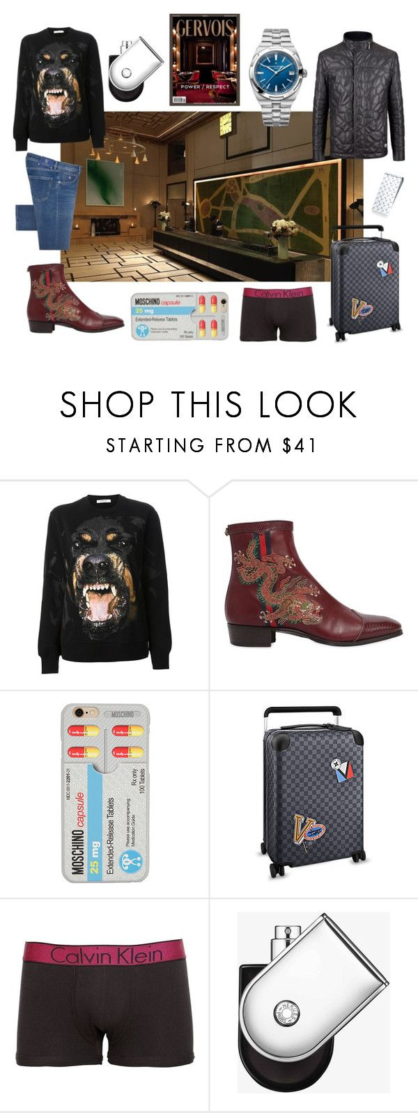 """""""The London NYC"""" by gervoisrating ❤ liked on Polyvore featuring Givenchy, Gucci, Moschino, Stefano Ricci, Calvin Klein Underwear, Hermès, contemporary, men's fashion and menswear"""