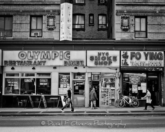 Olympic Diner on 8th  8x10 Black and White by DanielOliverio, $30.00