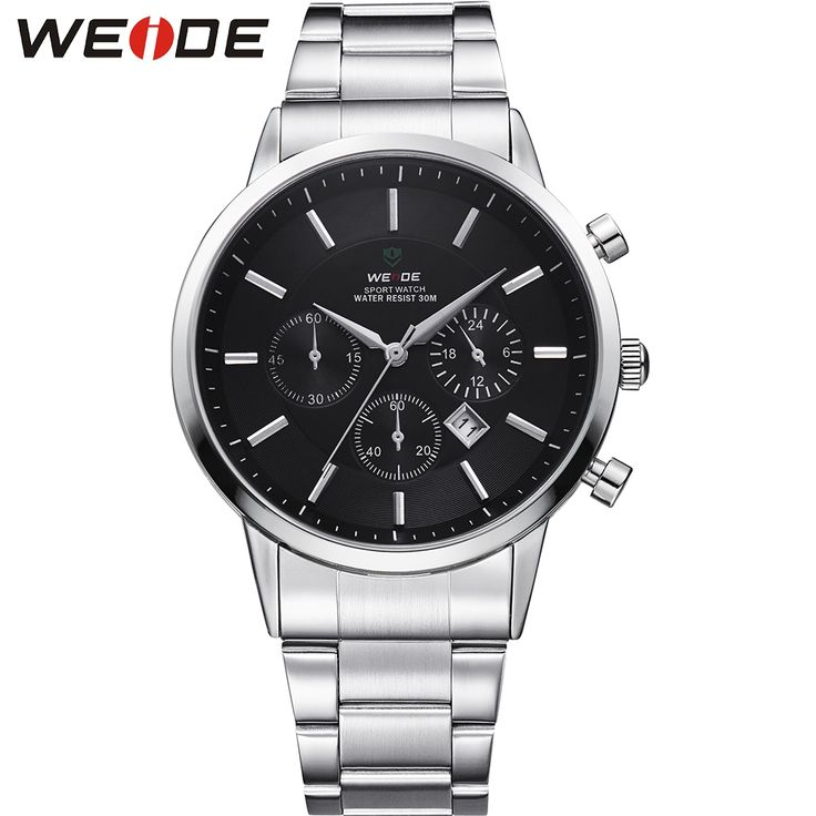 32.79$  Buy here - http://ait5p.worlditems.win/all/product.php?id=32604393895 - WEIDE Big Black 3 Dial Mens Watches Japan Quartz Movement Full Stainless Steel 3ATM Waterproof Fashion Wrist Watch Sale Items