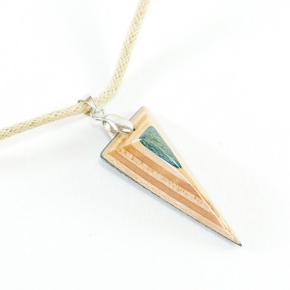 Recycled Skateboard Jewelry - Skateboard Necklace, Triangle necklace, Recycled Wood Necklace, woman birthday, Eco jewelry, Blue,gift for her