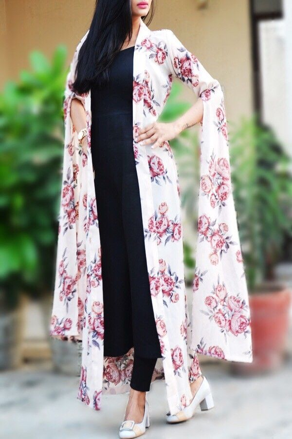 449e9f7b21a1 Buy this Off White Georgette Printed Long Floral Shrug by Colorauction # georgette #floral #shrug #offwhite #colorauction