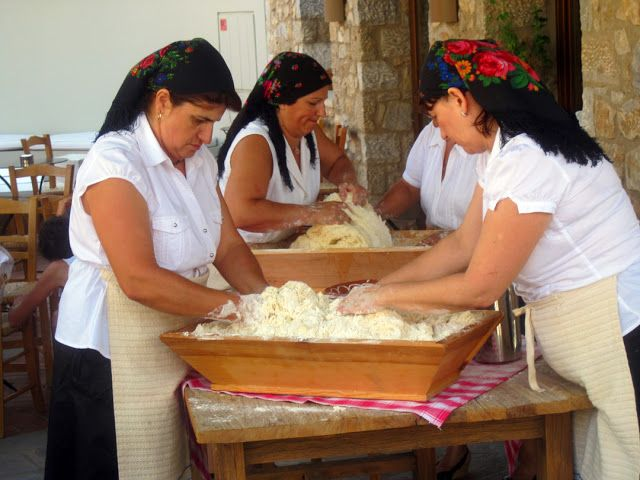 Traditional bread making at Costa Navarino, Messina, Greece.