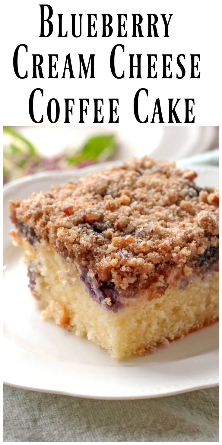 Blueberry Cream Cheese Coffee Cake... The cake layer on the bottom is sprinkled with blueberries and topped with a cream cheese filling and crumb topping. via @https://www.pinterest.com/BunnysWarmOven/bunnys-warm-oven/