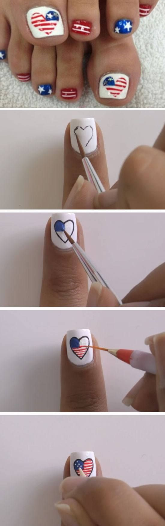 Hearts | 17 Fourth of July Toe Nail Designs for Summer that will make you feel so patriotic!