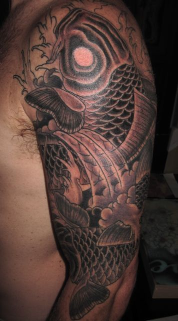 Black and grey koi fish tattoo by phil colvin tattoo for Koi fish black and grey