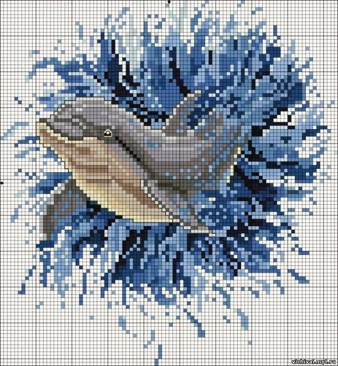 "Borduurpatroon ""Overig"" Kruissteek *Embroidery Cross Stitch Pattern ~Dolfijnen~"