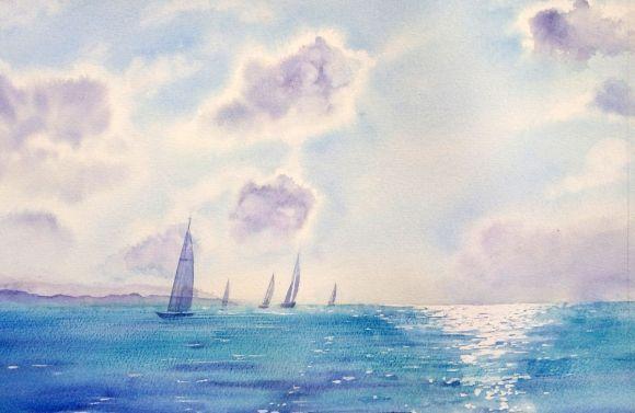 Парусники #2 - морской пейзаж - море и небо - бирюзовое море - лето - яхт