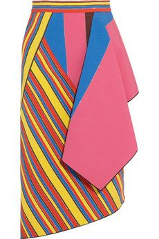 Peter Pilotto Hendrix draped twill and crepe skirt   THE OUTNET