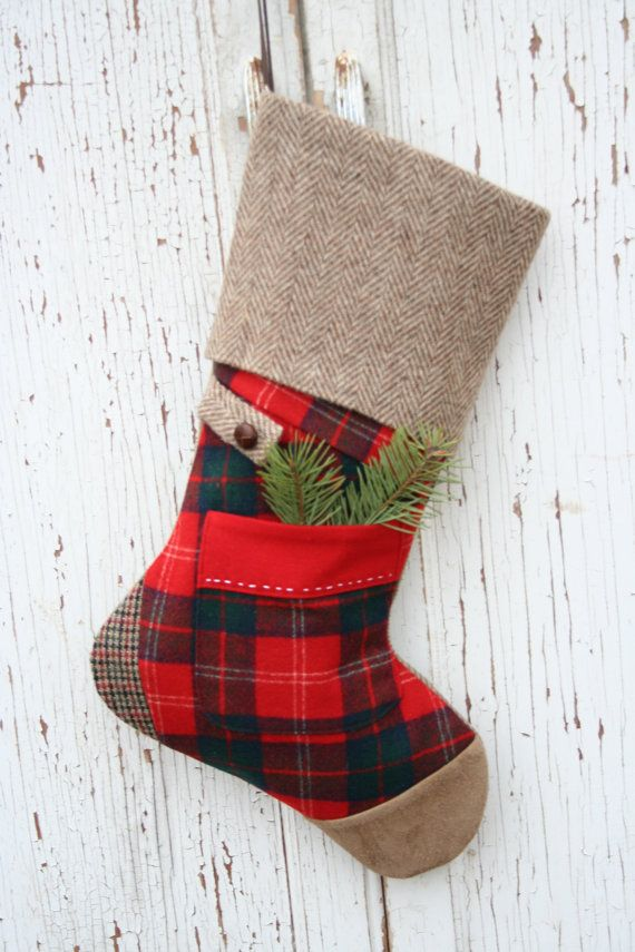 Christmas STOCKING Plaid Tartan Wool Red Suede Toe By SmokinTweed Up Cycled  From Garments,