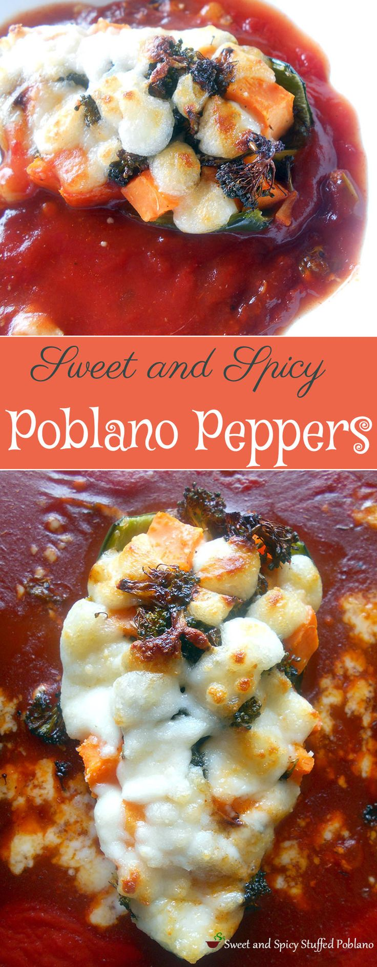 This is a quick lunch idea or even a side meal for dinner.  Poblanos are stuffed with sweet potatoes, broccoli and topped with Cacique Cheese.  Placed in a bed of Enchilada sauce.  vegetarian recipe