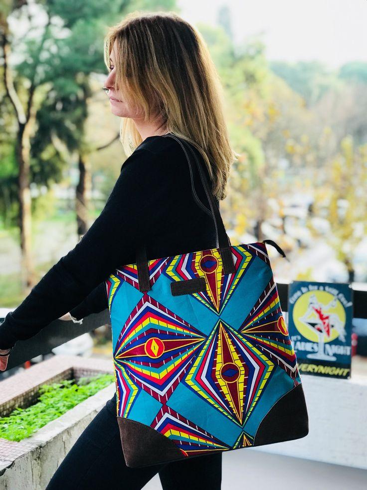 Ankara print Tote bag leather wax print bag african print ankara turquoise for woman