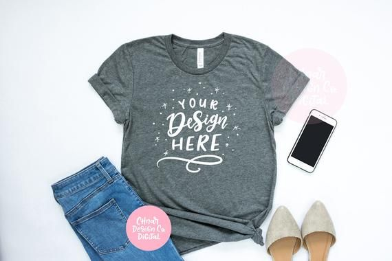 Download Bella Canvas 3001 Deep Heather Unisex T Shirt Mockup Casual Styled Tshirt Mockup For Clipart And Svg Files Shirt Mockup Flat Lay Images Bella Canvas