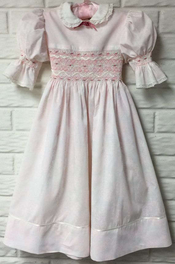 Girls English Smocked Easter Dress Light Pink and White Floral fabric Size 8-10 Ribbon Embellished Rosebud Embroidery