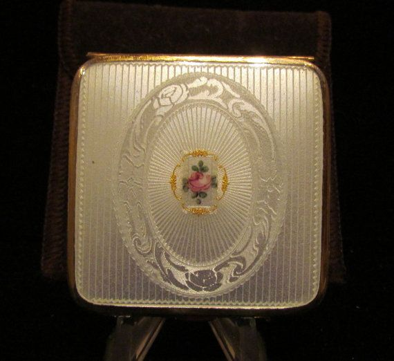 1930's Guilloche Compact Bliss Brothers 24kt by PowerOfOneDesigns, $159.99