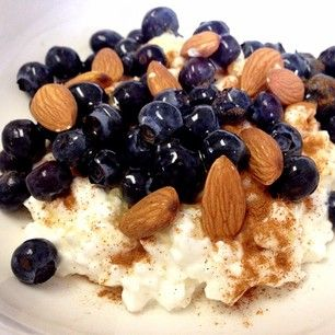 myhealthydish_ Cottage cheese, almonds, blueberries, honey, cinnamon