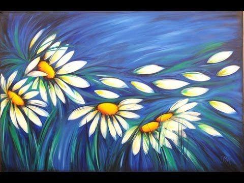 Como pintar con acrilicos- Cuadro de Margaritas - Claudia Kunze - Pintando.org