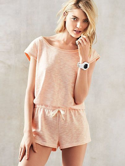An all-in-one outfit with an easy, breezy shape. | Victoria's Secret Keyhole Romper