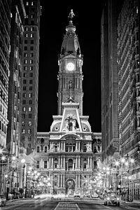 Black And White Philadelphia Landmarks Photograph - Philadelphia City Hall At Night by Val Black Russian Tourchin