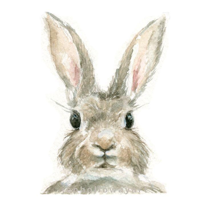 Watercolor Rabbit, Rabbit Print, Bunny Print, Animal Print, Rabbit, Jackrabbit by jenhollowayart on Etsy