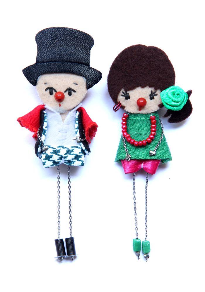 Клоуны.  # # Войлочные куклы фибула кукла # # пользовательские куклы минимальных