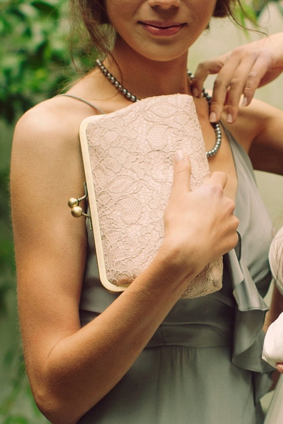 Antoinette Clutch  Champagne on Powder Pink  by DavieandChiyo