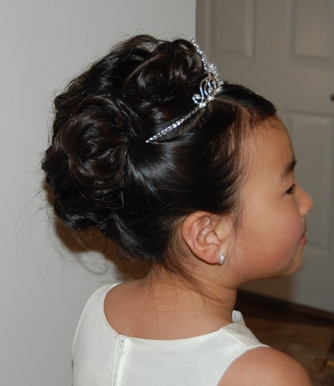 Hairstyles For Communion Upstyles: Flower Girl Updo With Tiara