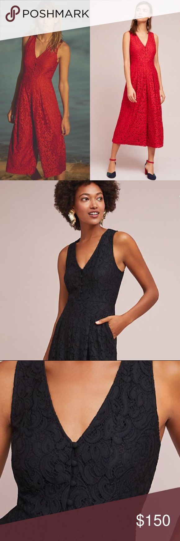 """anthropologie // black lace wide-leg jumpsuit NWT Anthropologie midi sleeveless black wide-leg lace jumpsuit with v-neck, pockets and button at back closure. 49"""" length. Hem hits at calf.  NOTE: red shown for fit/modeling. Color for sale is BLACK. Anthropologie Pants Jumpsuits & Rompers"""