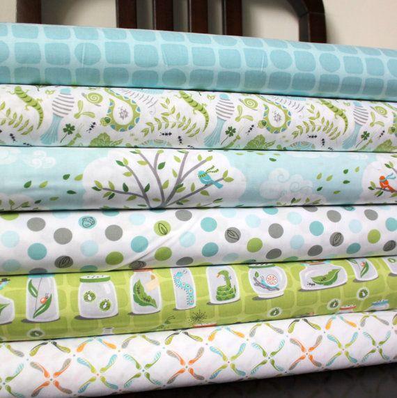 Green and Blue Boy Animal Fabric, Backyard Baby for Michael Miller, Fat Quarter Bundle, 6 Prints Total