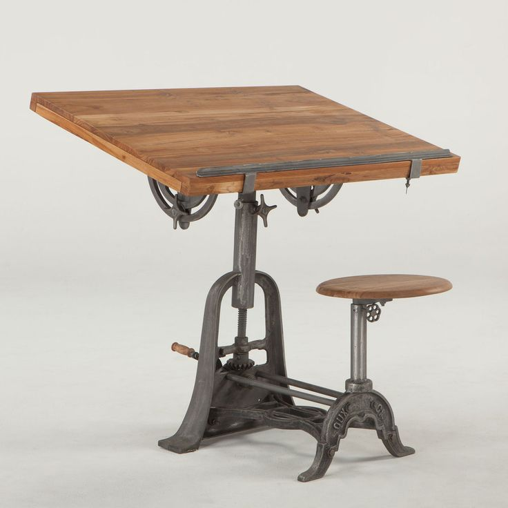 French Vintage Industrial Architect Drafting Table with Attached Seat  (https://www.zinhome.com/french-vintage-industrial-architect-drafting-table-with-attached-seat/)