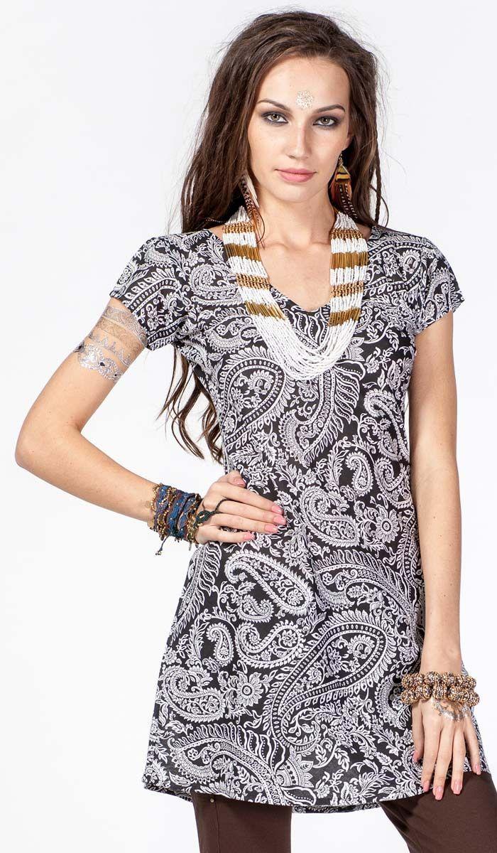 Чёрное летнее платье-туника, Этническое платье, платье в стиле бохо, батист, пейсли, boho dress, dress bohemian style, indian print, 1040 рублей