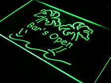 i814-g Bar is Open Palm Tree Pub Beer Wall Decor LED Neon Signs