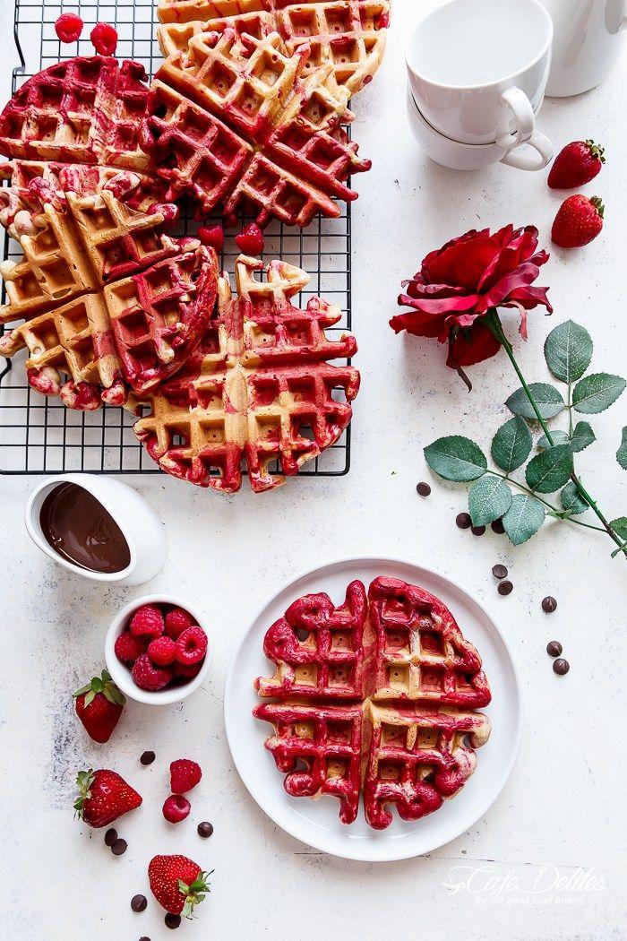 Red Velvet Marbled Waffles | Cafe Delites